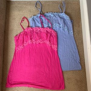 PAIR!! Lace Bust Pink and Purple Tank Tops